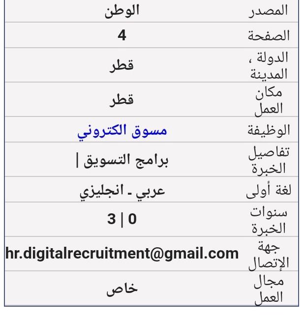 وظائف شاغرة قطر جميع التخصصات