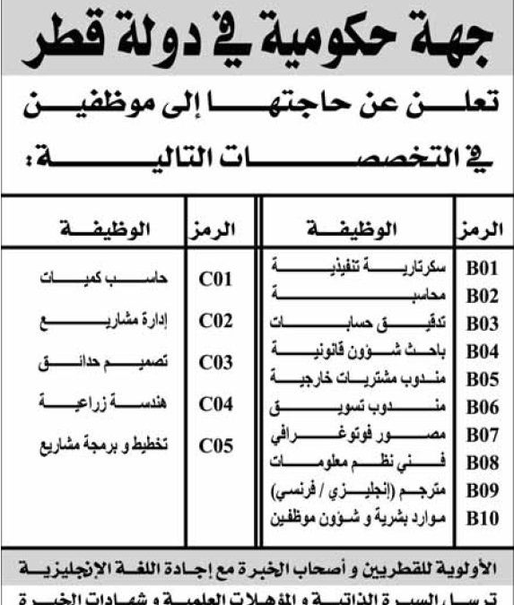 وظائف حكومية شاغرة في دولة قطر